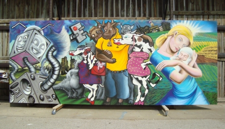"Mural titled""Consensus"". Painted for the University of Iowa with Lady Pink, Tony Carter, and other university students. 2010"